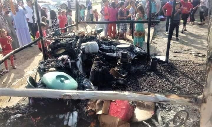 W Khanke doszczętnie spłonęły cztery namioty